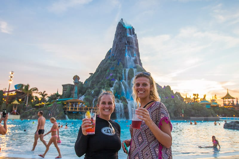 Enjoying a Vol's Fire Punch cocktail and Elderberry Cider at Volcano Bay, Orlando, Florida