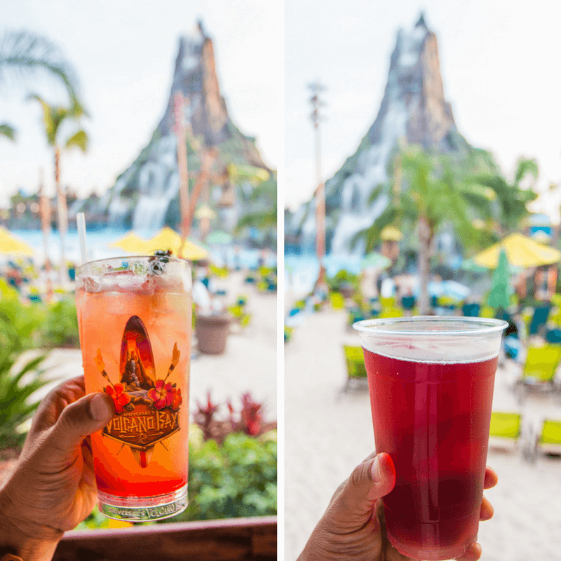 Vol's Fire Punch cocktail and Elderberry Cider at Volcano Bay, Orlando, Florida