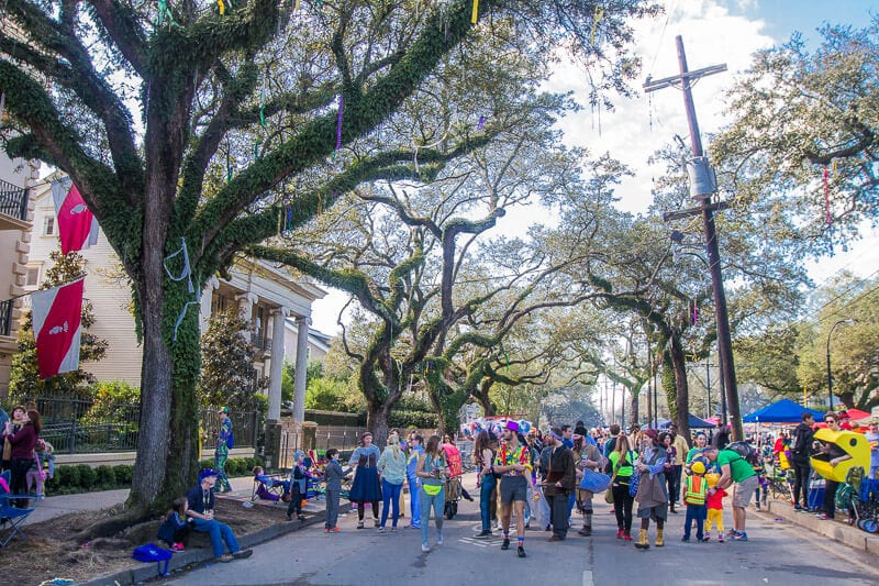 Garden District in New Orleans during Mardi Gras