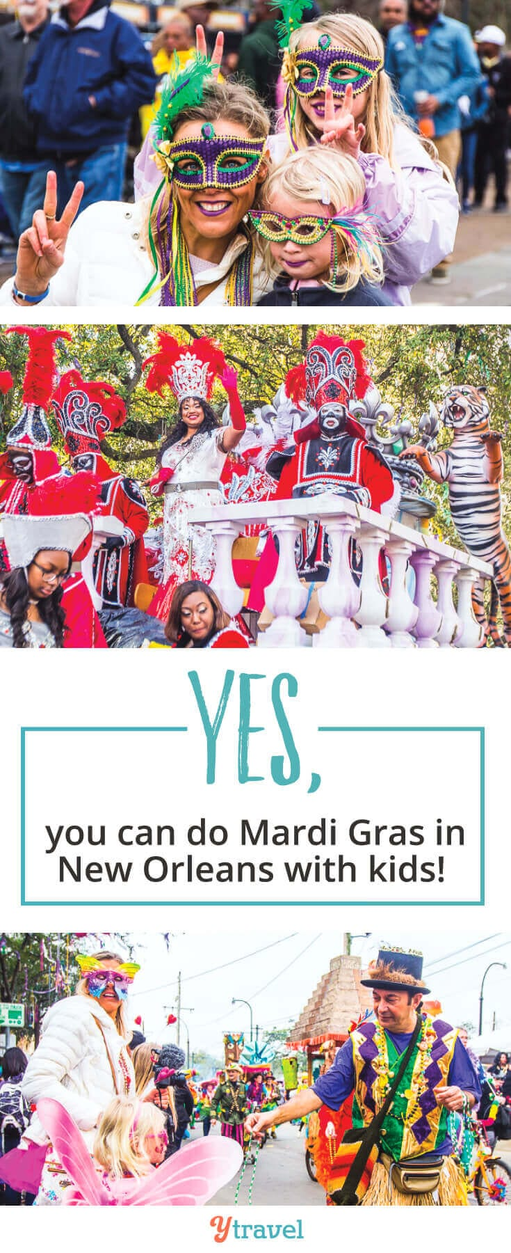 New Orleans Mardi Gras - Are you planning a trip to New Orleans for the Mardi Gras Festival? Wondering if you can do Mardi Gras with kids? This guide offers tips on Mardi Gras costumes, Mardi Gras dates, what Mardi Gras Parades to see, tips for enjoying the festival with kids, and much more!