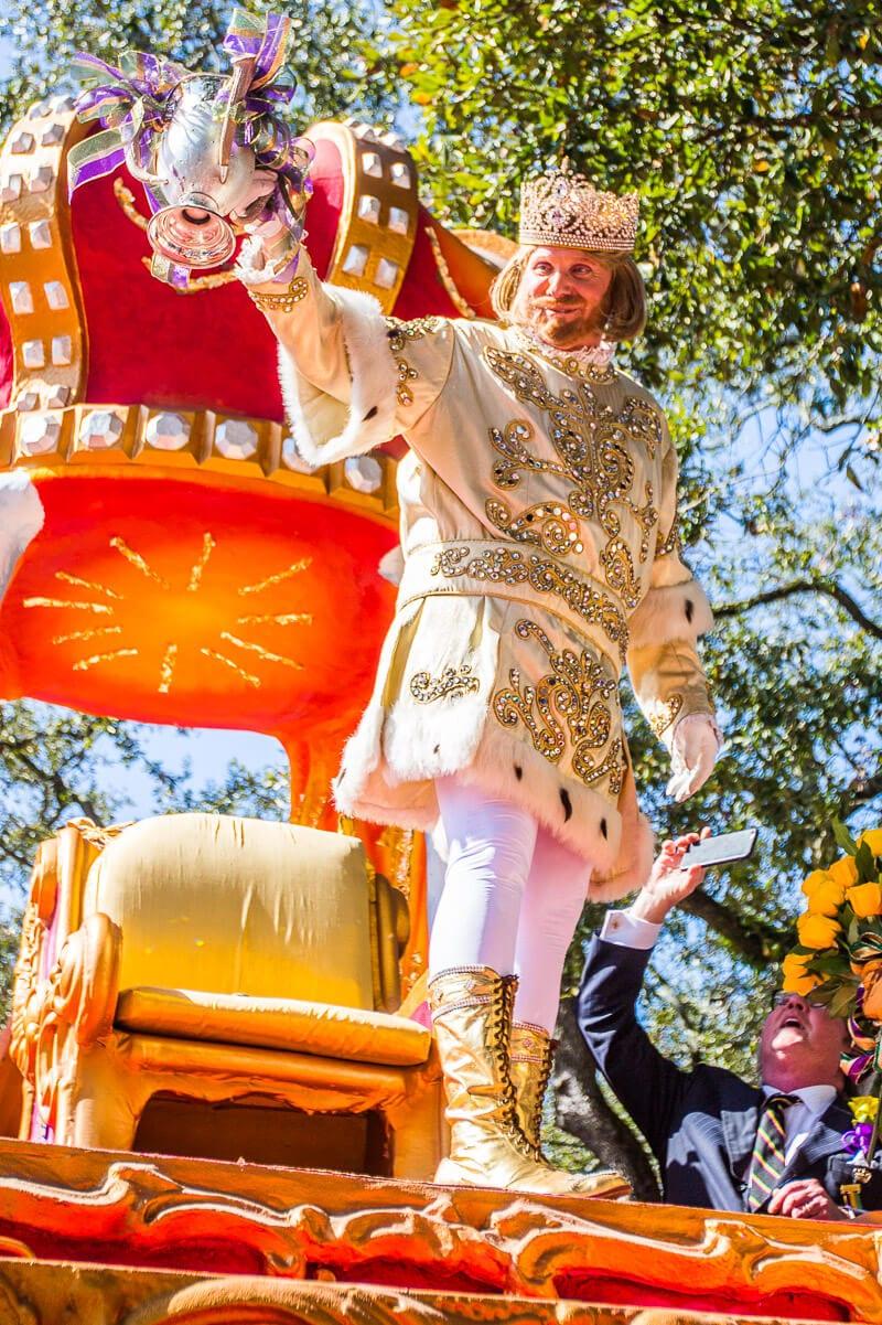 Le roi Rex au Rex Parade au Mardi Gras de la Nouvelle-Orléans