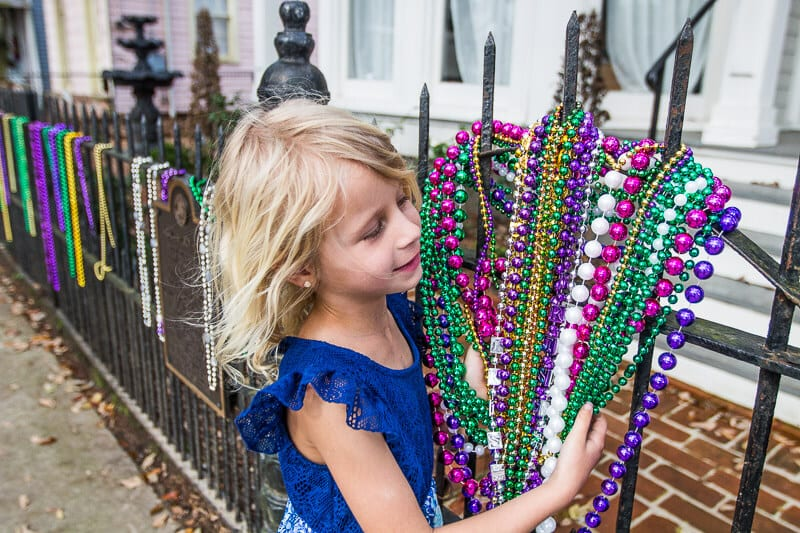 Mardi Gras beads in the Garden District of New Orleans