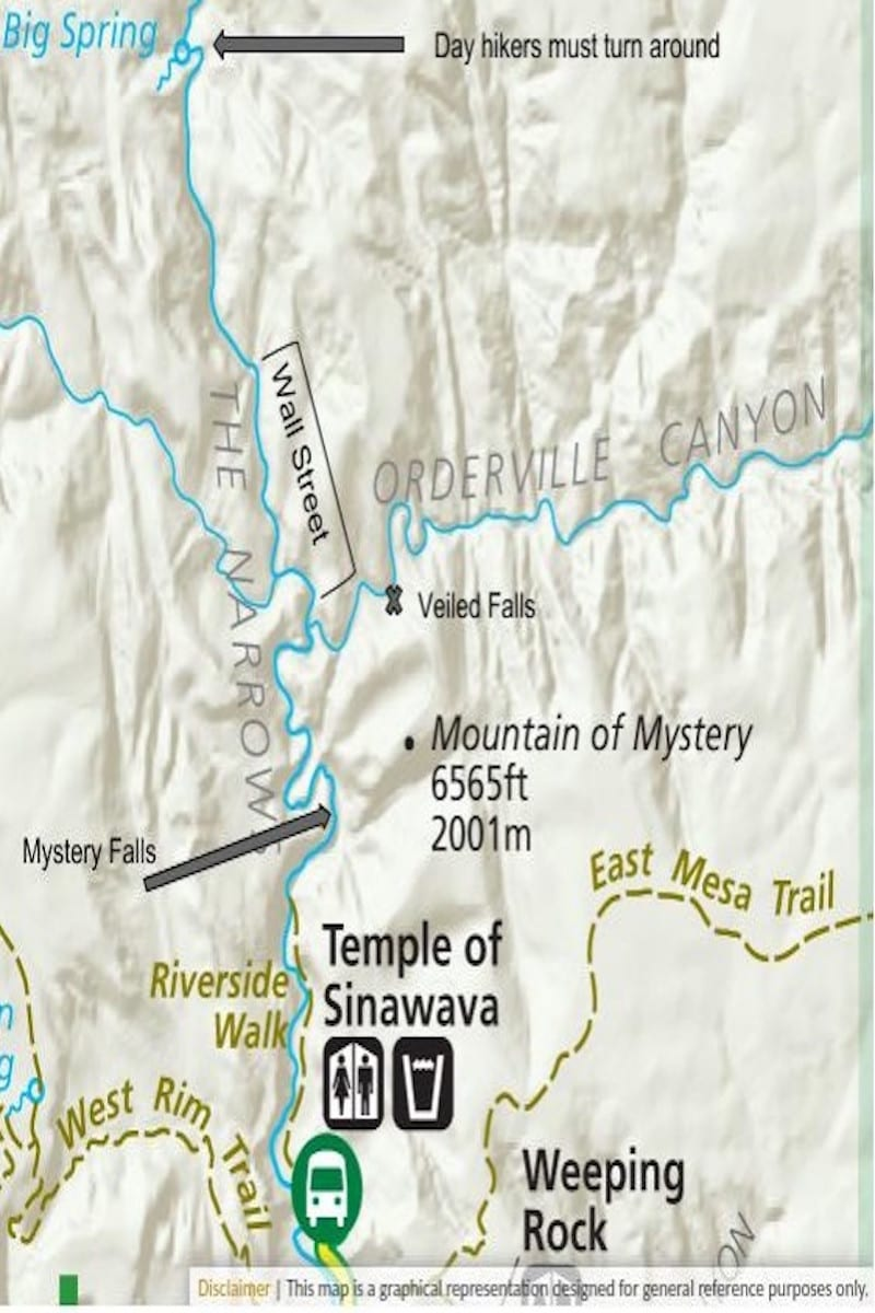 Zion Narrows map - tips for hiking The Narrows in Zion National Park