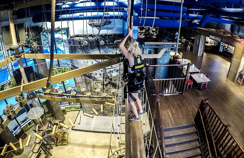 High ropes course at Great Wolf Lodge Minnesota