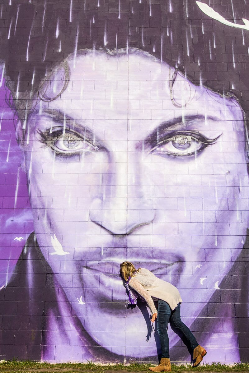 Prince mural in Minneapolis. The last stop on our Prince Tour. Amazing!