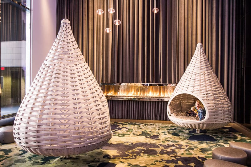 Pods in the lobby at Radisson Blu, Mall of America