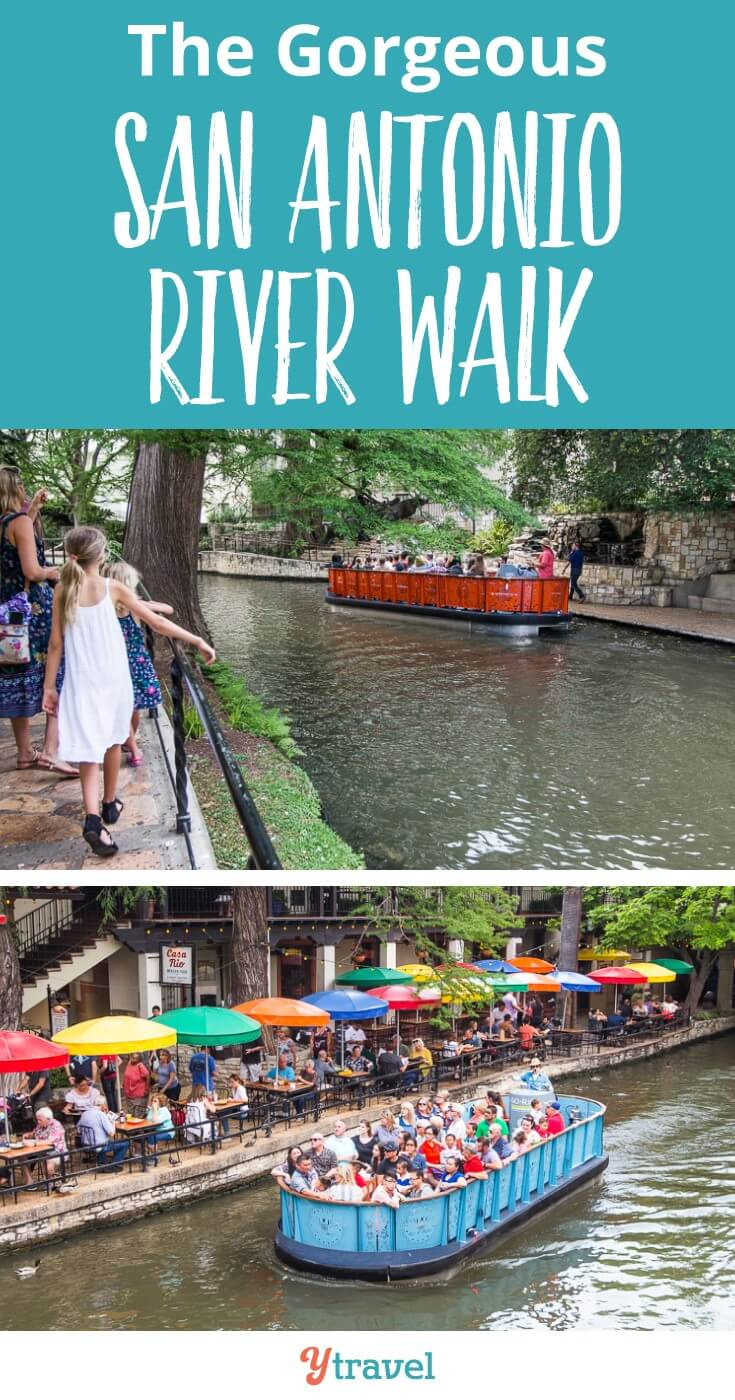 Things to do on the San Antonio River Walk with kids. It's a fantastic San Antonio attraction and it is completely free. There are so many great Tex Mex restaurants to choose from (click to read our favorite) and the atmosphere is serene yet buzzing. IT's one of my favorite things to do in San Antonio and in a US city.