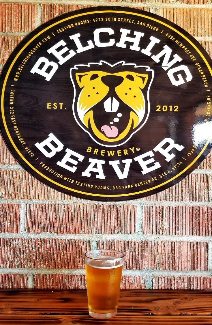 Nice craft beer at the Belching Beaver Brewery at Ocean Beach, Sand Diego, California
