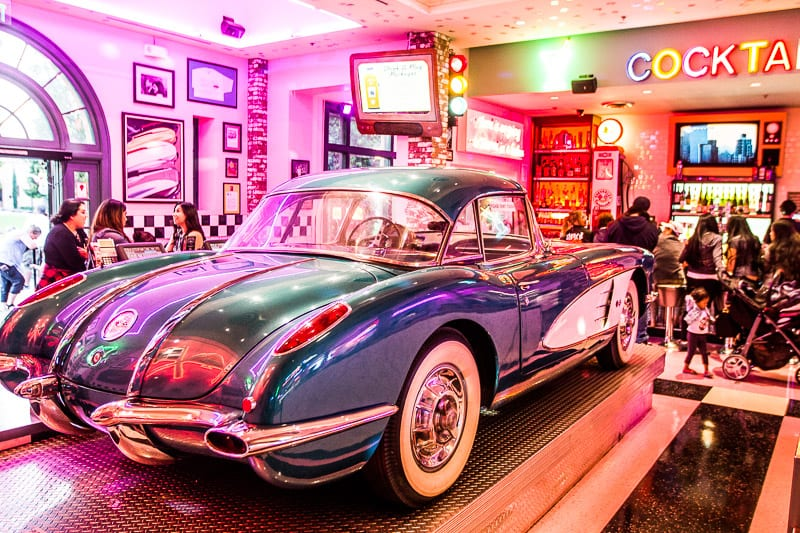 Eat at the Corvette Diner in San Diego - - one of the best things to do in San Diego with kids!