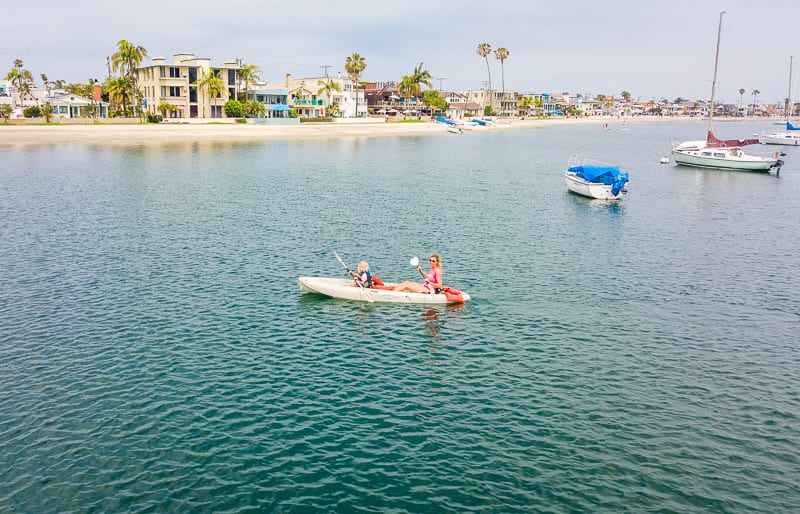 Kayaking in Mission Bay - - one of the best things to do in San Diego with kids!