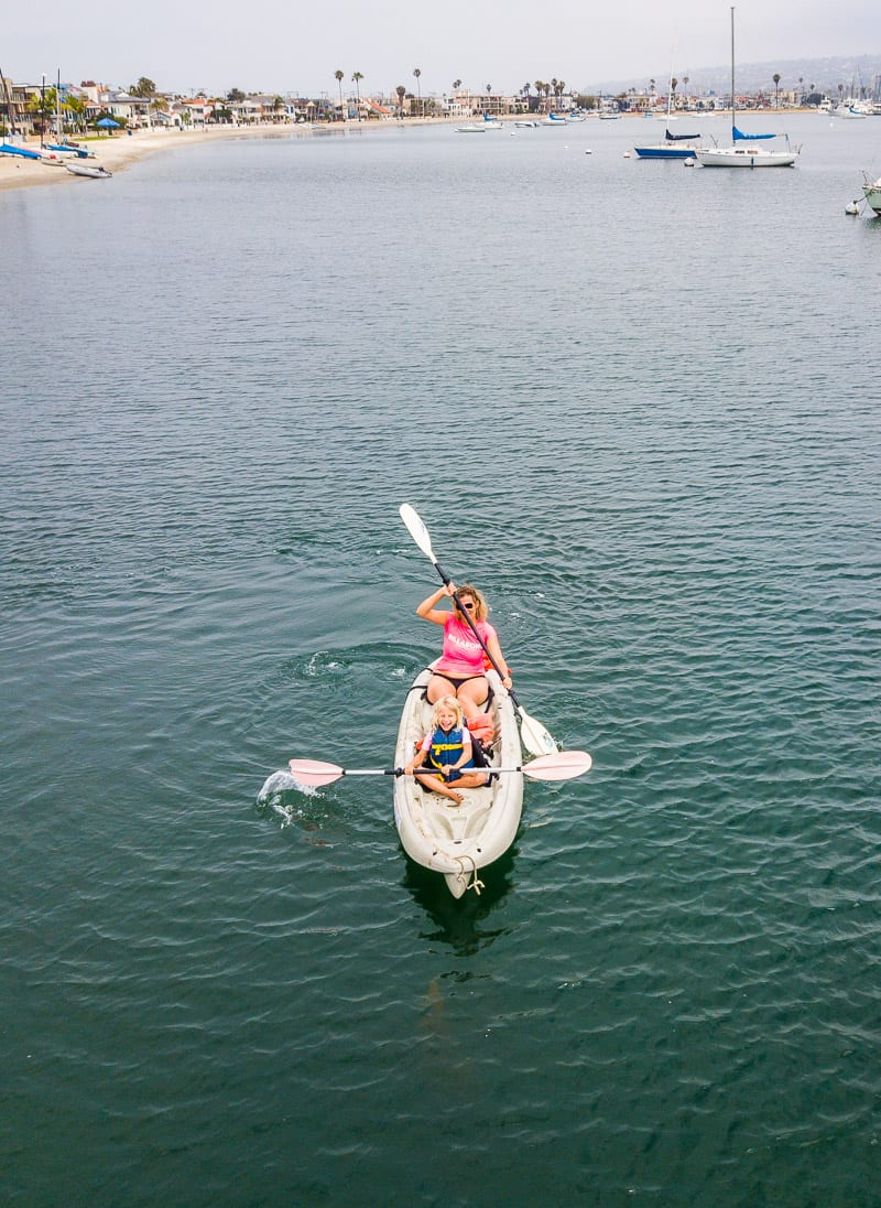 Kayaking in Mission Bay, San Diego - - one of the best things to do in San Diego with kids!