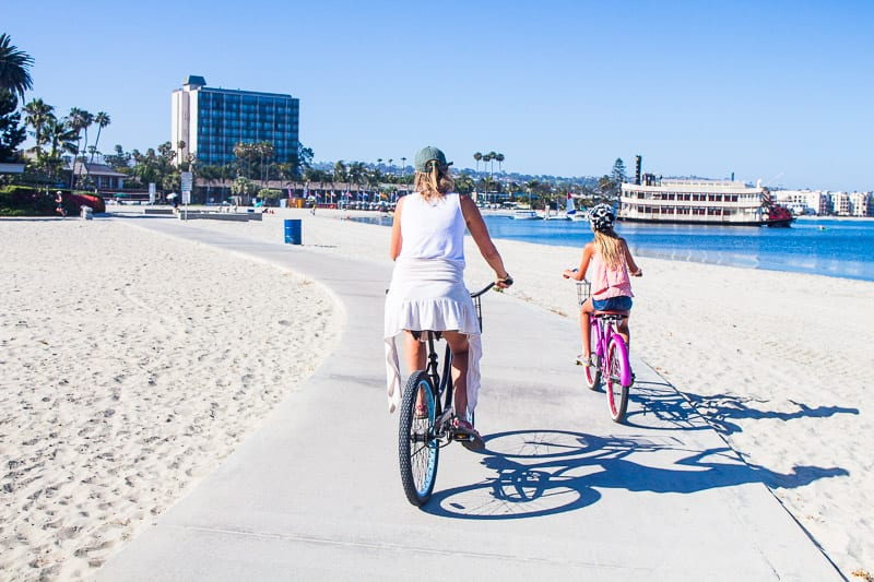 Bike riding in Mission Bay, San Diego