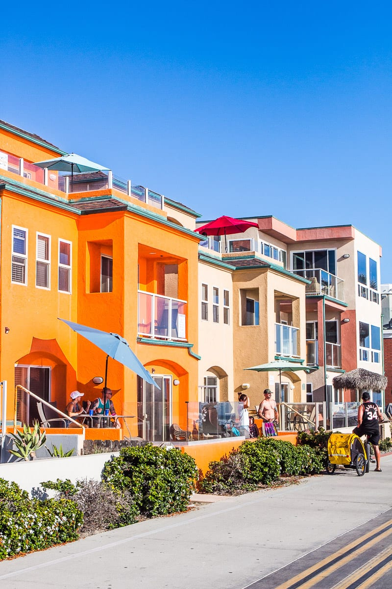 Colorful homes along the beach boardwalk in San Diego, California