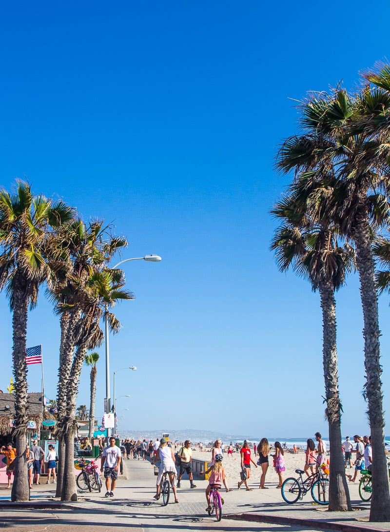 Pacific Beach, San Diego. Great place to go for a bike ride along the beach boardwalk with kids.