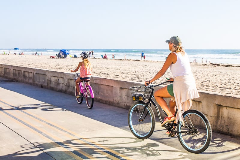 Bike riding in Pacific Beach, San Diego