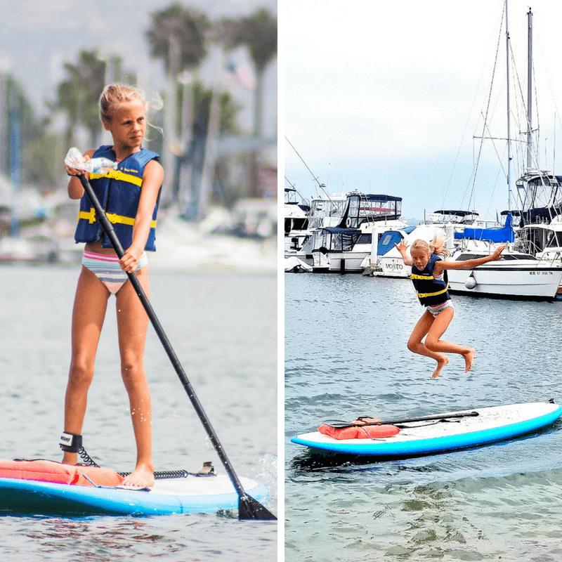 Stand Up Paddle Boarding at Mission Bay - one of the best things to do in San Diego with kids!