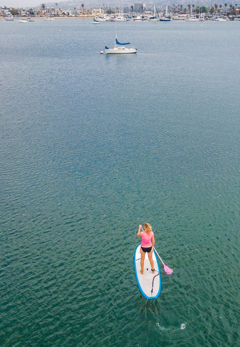 Stand up paddle boarding in Mission Bay - one of the best things to do in San Diego