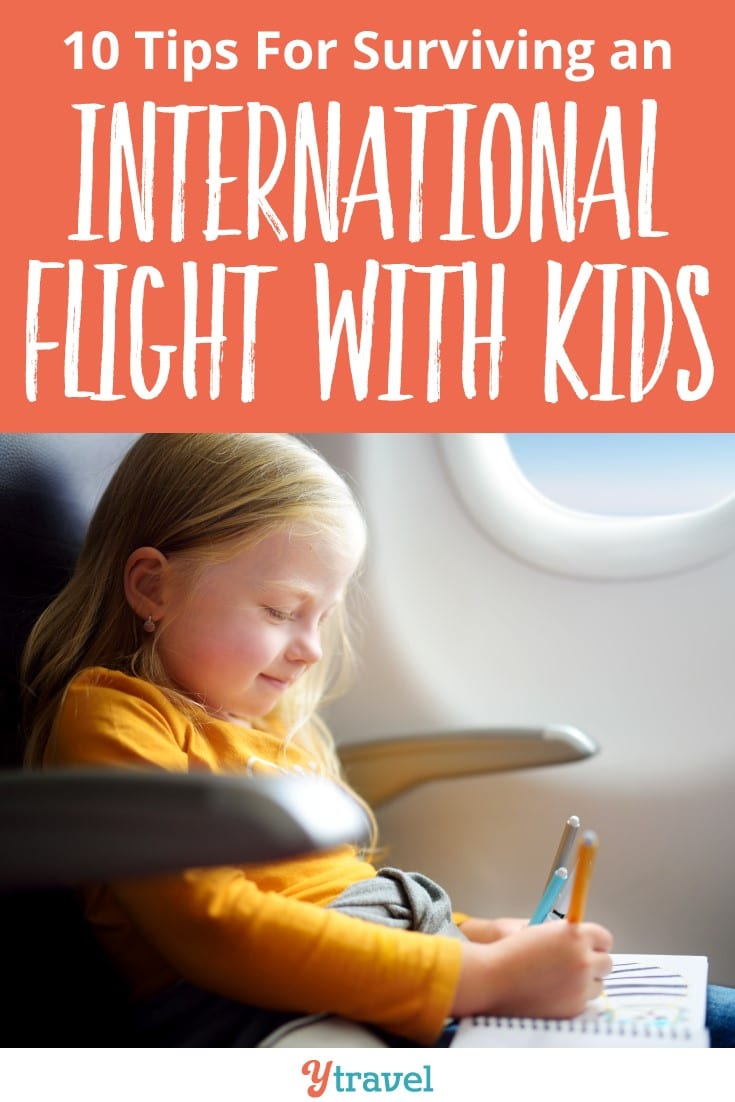 Tips for surviving an international flight with kids. Yes you can! Learn a few of the insider tips for flying with kids to help. What's your best tip?