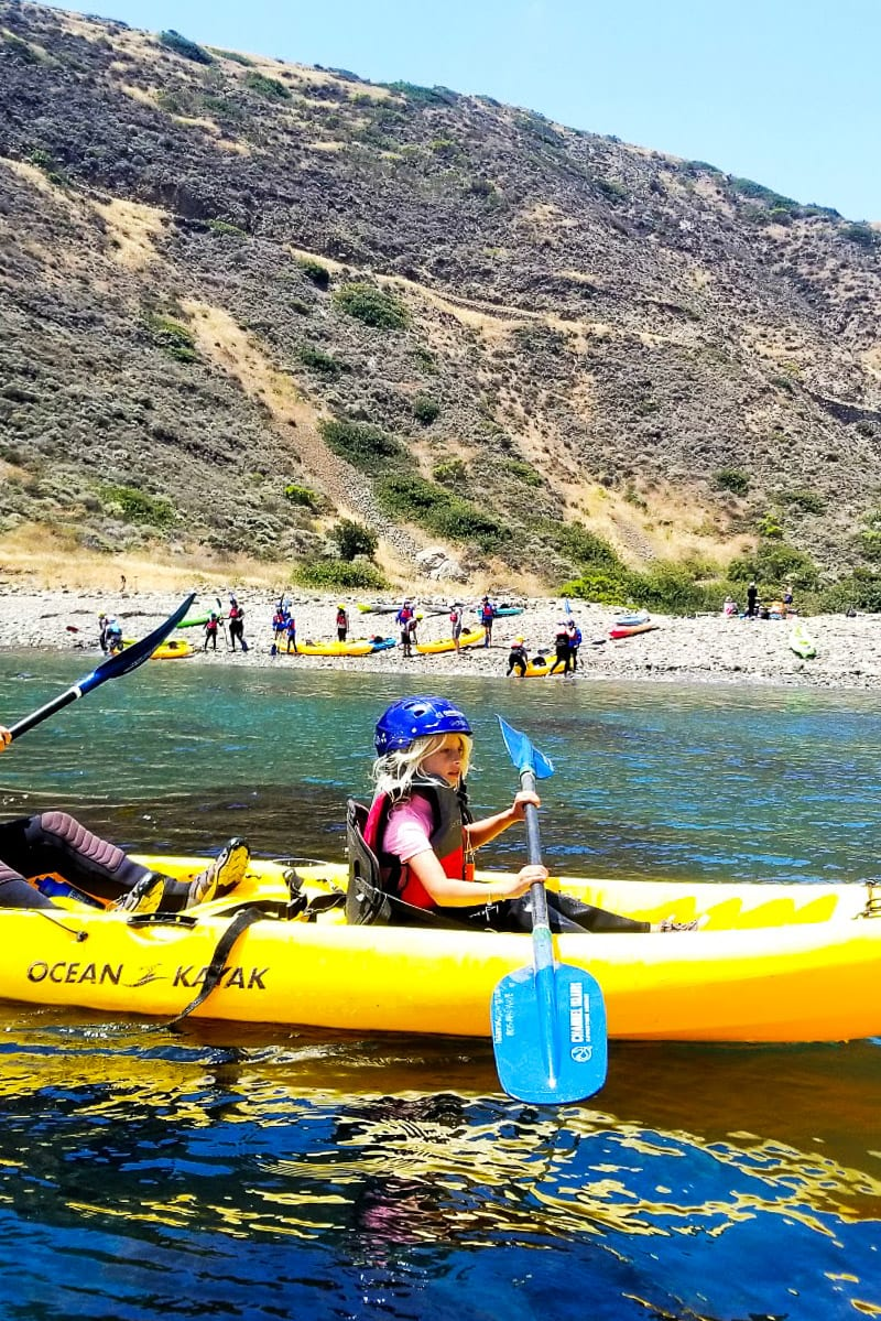 Kayaking in Channel Islands National Park, California. One of the best places to visit in California with kids