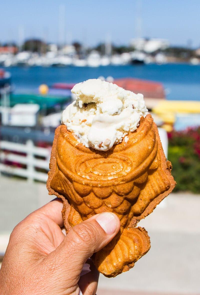 Yummy fish cone ice cream at Coastal Cone Ice Cream in Ventura, California