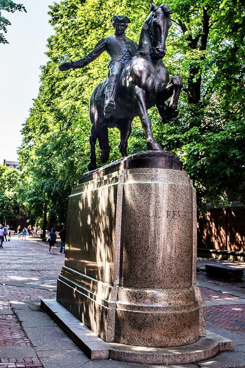 Paul Revere Statue in Boston - see this on the Boston Freedom Trail