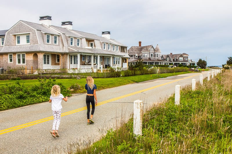 Shingled mansions along East Chop Road in Oaks Bluff, Martha's Vineyard