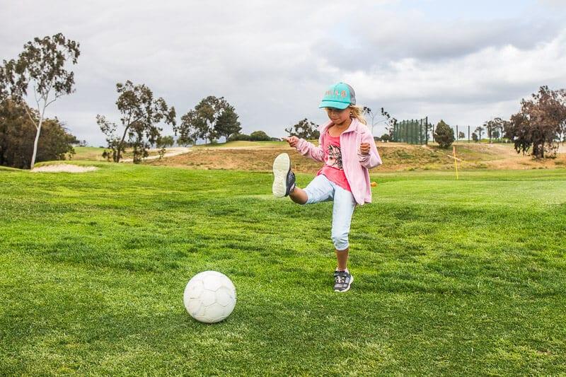 Foot golf at River Ridge Golf Club in Ventura