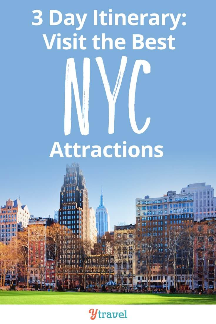 3 days in NYC itinerary for the best NYC attractions including Central Park, Times Square, Broadway, Fifth Avenue and more. There is so much to see and so many things to do in New York City. Where do you start? We've made it easy for you with a 3 day itinerary that takes in the major tourist sites of NYC! Click to read more!