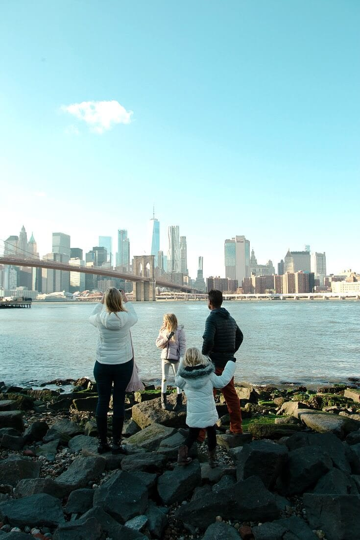 View of NYC skyline from DUMBO, Brooklyn. Click inside for more NYC travel tips!