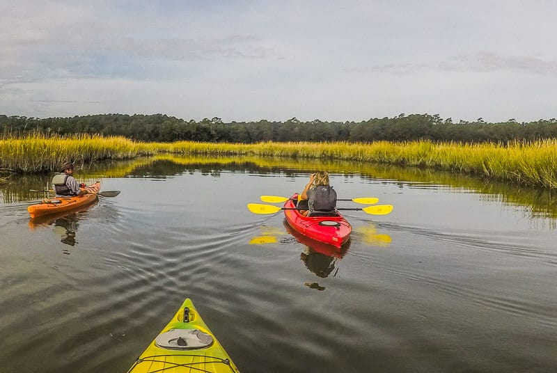 Kayaking through the Salt Marsh in Huntington Beach State Park