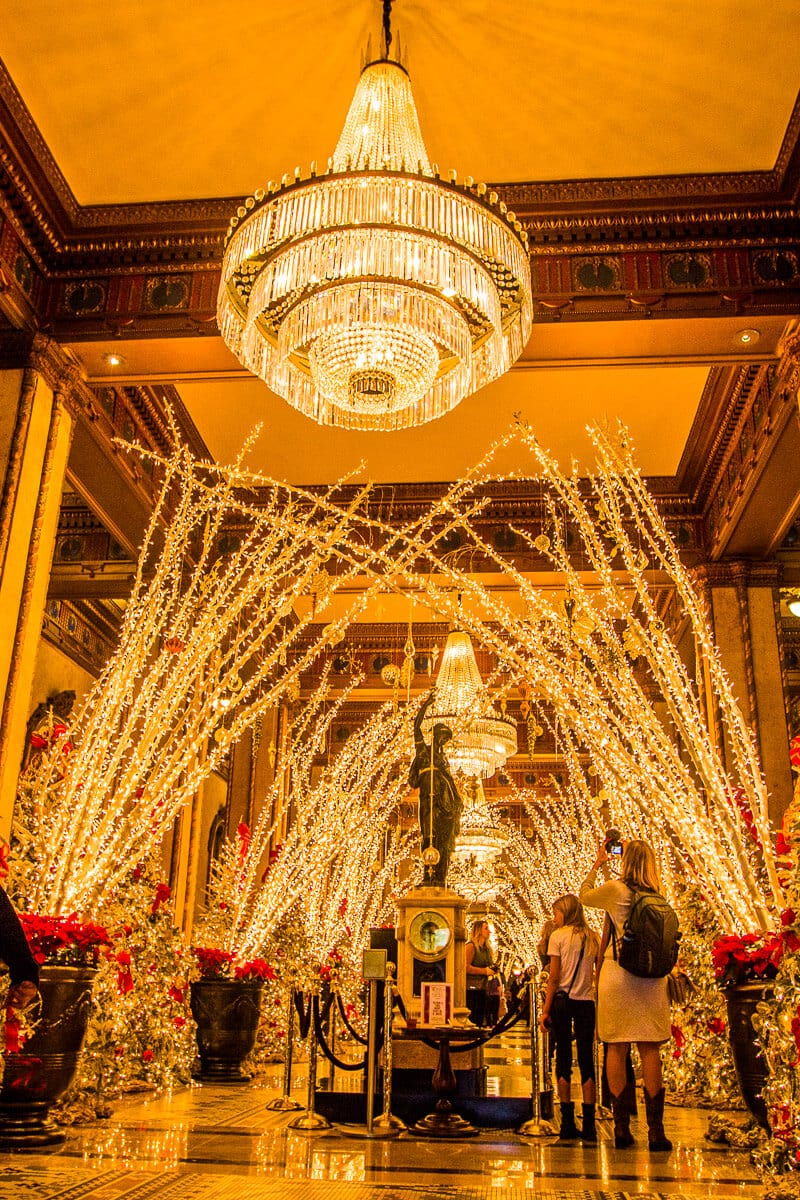 Christmas decorations inside the Roosevelt Hotel in New Orleans