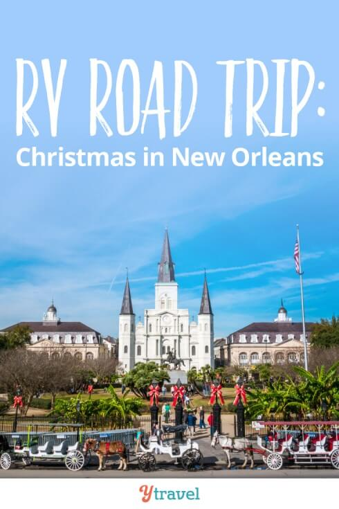 Things to do in New Orleans at Christmas. Our RV road trip for week three took us to NOLA to experience the Christmas fun there. Click to see what we did + our travel costs and RV lessons