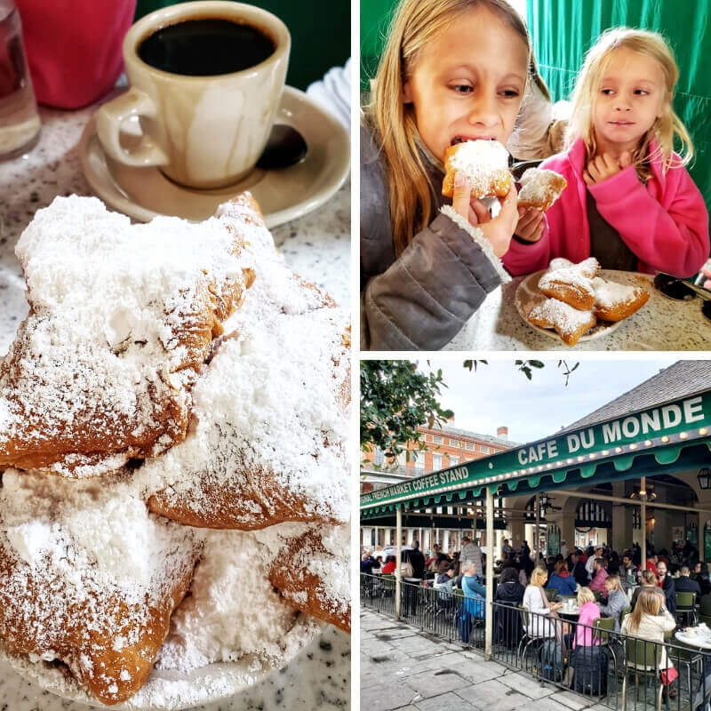 Beignets & coffee at Cafe Du Monde