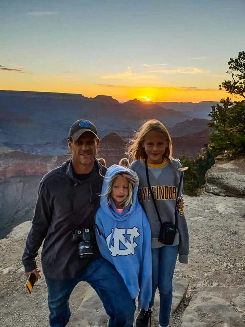 Enjoying sunrise at Yavapai Point, Grand Canyon National Park