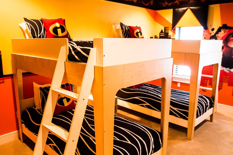 The Incredibles themed bunk room at Reunion Resort 460