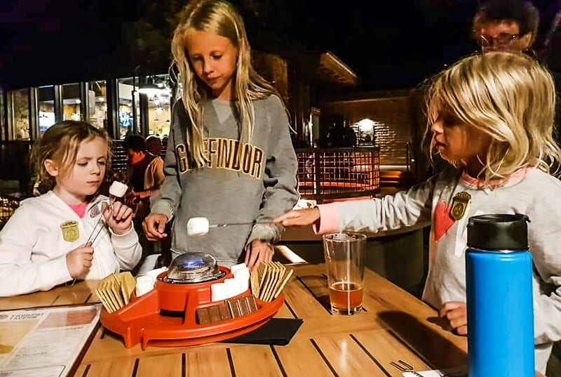 Roasting s'mores at Yavapai Tavern