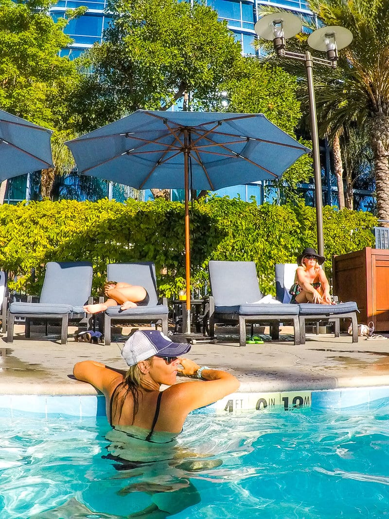 Relaxing poolside at Disneyland Hotel, Anaheim, California