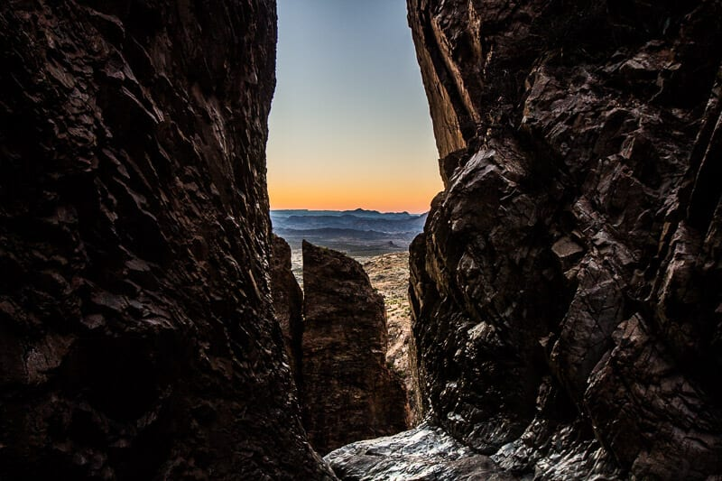 the window trail sunset Big Bend National Park