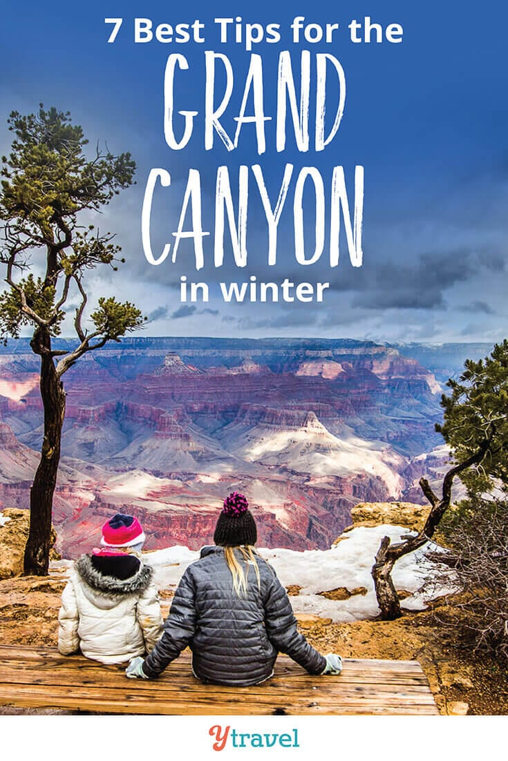 7 tips for visiting The Grand Canyon in winter. There are pros & cons of a winter visit. Check out these Grand Canyon travel tips to help make your winter Grand Canyon vacation great, including where to stay, getting around, hiking, and much more!