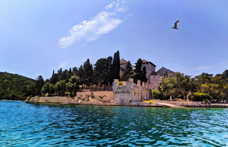 Bendictine Monastery of St Mary from the water at Miljet National Park Isle of Miljet Croatia Islands