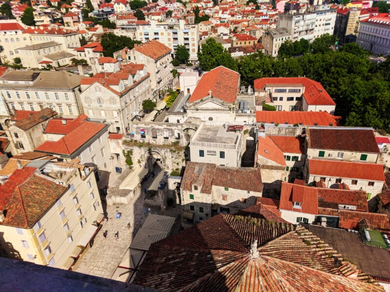 View from bell tower at Cathedral in Old Town Split Croatia sail