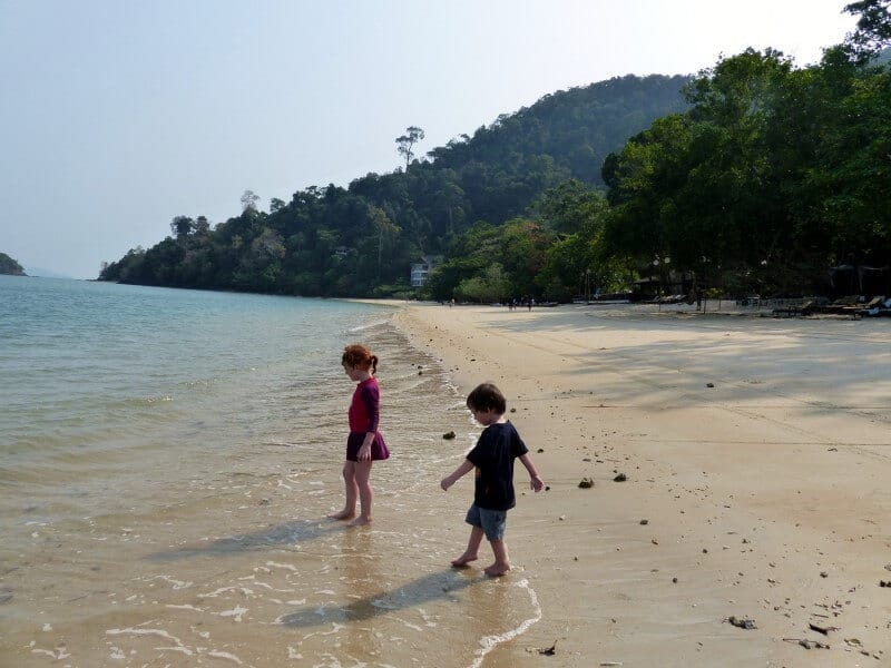 The private beach at the Andaman Langkawi