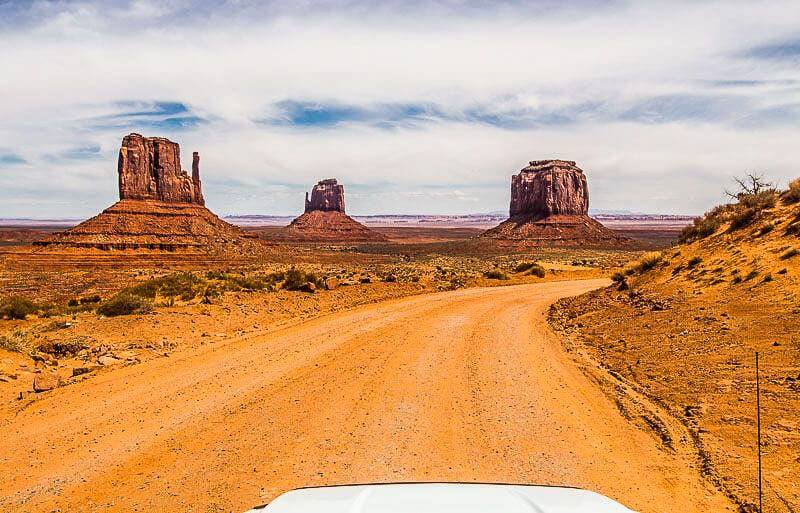 A desert road at Monument Valley Navajo Tribal Park