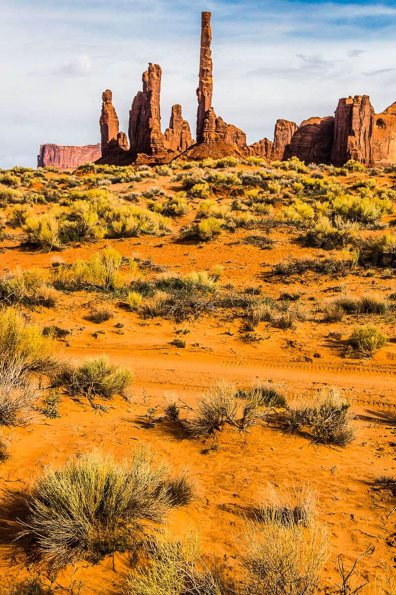 Totem Poles in the desert at monument valley