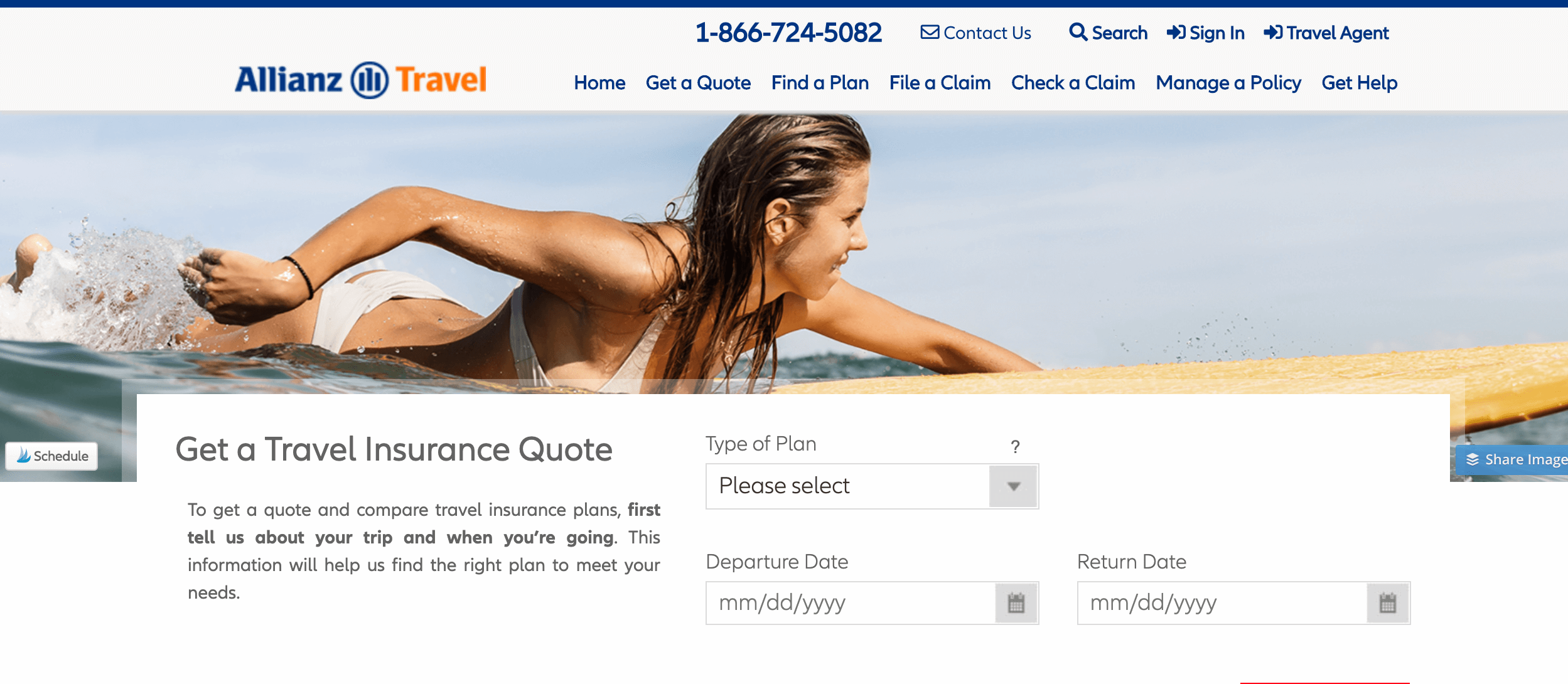 Alianz Travel Insurance Screenshot