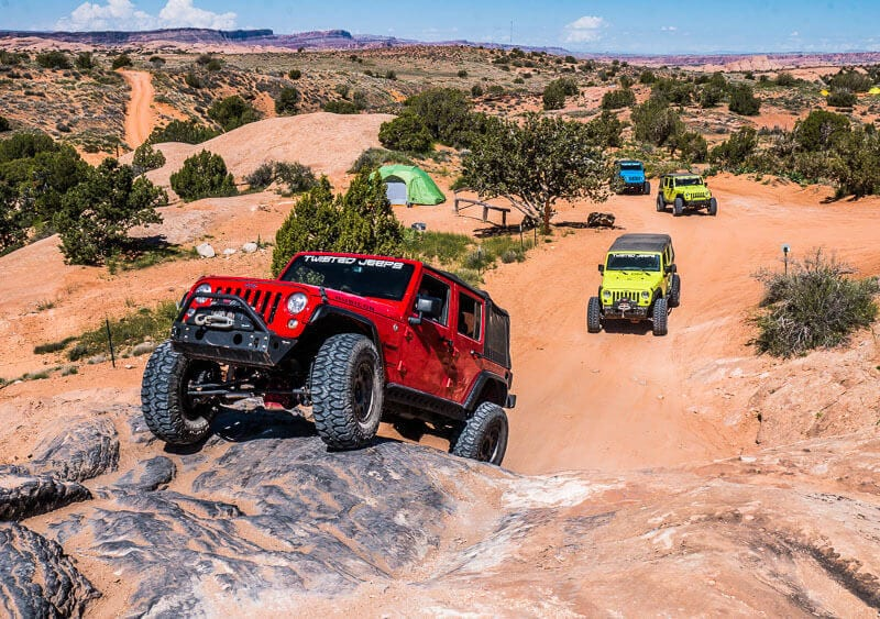 moab rock crawling in a jeep