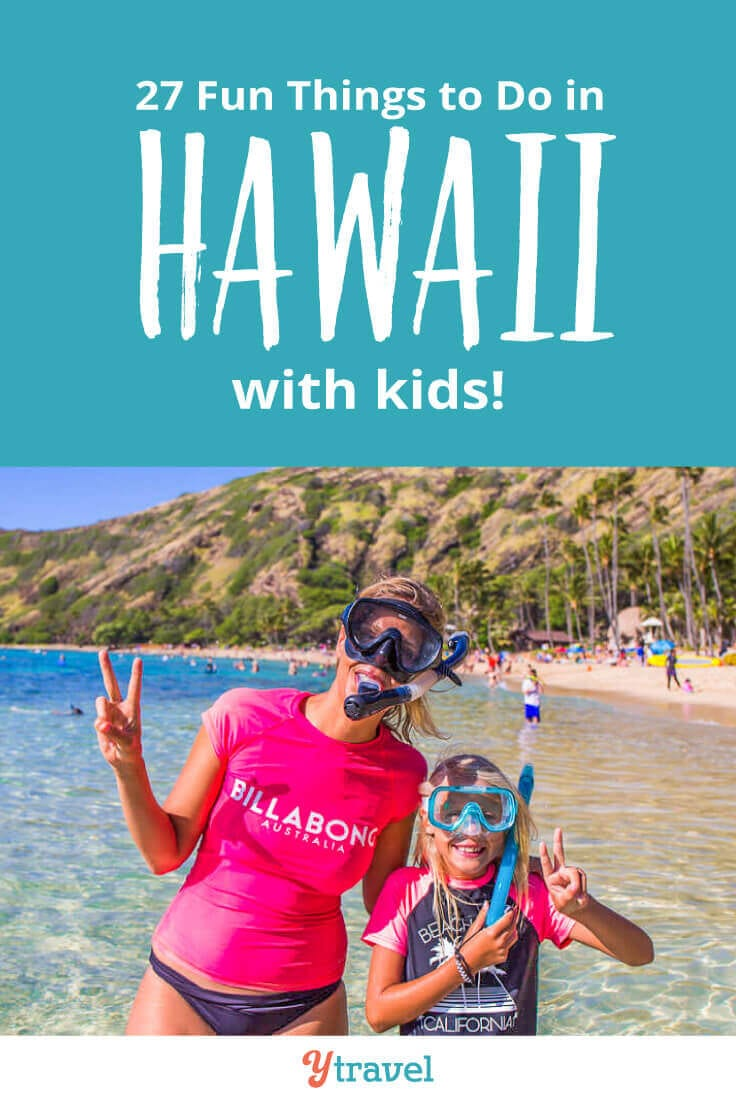 Planning a Hawaii family vacation? Here are 27 fun things to do in Hawaii with kids, that adults love doing too, plus suggestions on kid friendly hotels in Hawaii and cool places to eat! Don't take a Hawaii vacation with kids until you read this Hawaii travel tips guide!