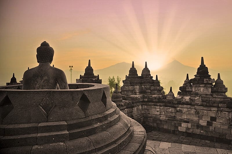 sunrise Borobodur temple Java Indonesia