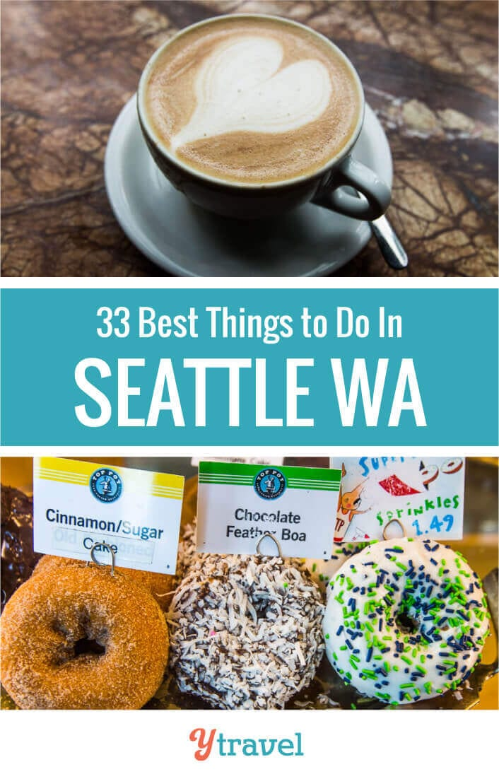 Want to visit Seattle? Here are 33 things to do in Seattle Washington plus tips on where to eat, where to find great coffee, and places to stay. Seattle travel tips | Washington State | Seattle vacation | Seattle trip | USA travel | travel | travel tips | Coffee in Seattle | Seattle coffee | family travel | vacation.