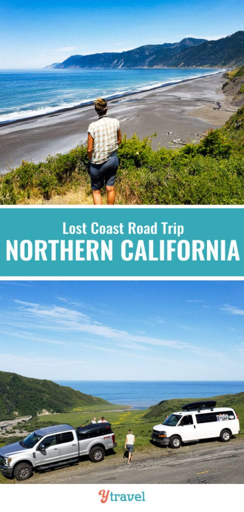 Looking for a unique California road trip? The Lost Coast scenic drive in Northern California offers remote black sand beaches, rolling hills, and redwood trees.